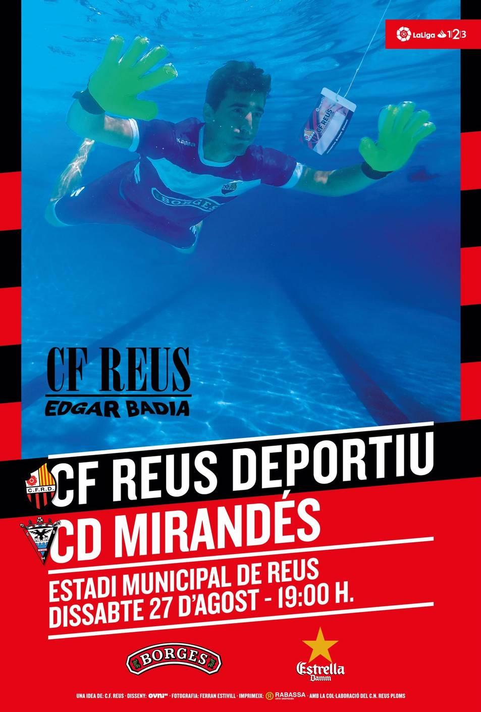 Cartell del partit entre el CF Reus Deportiu i el CD Mirandés