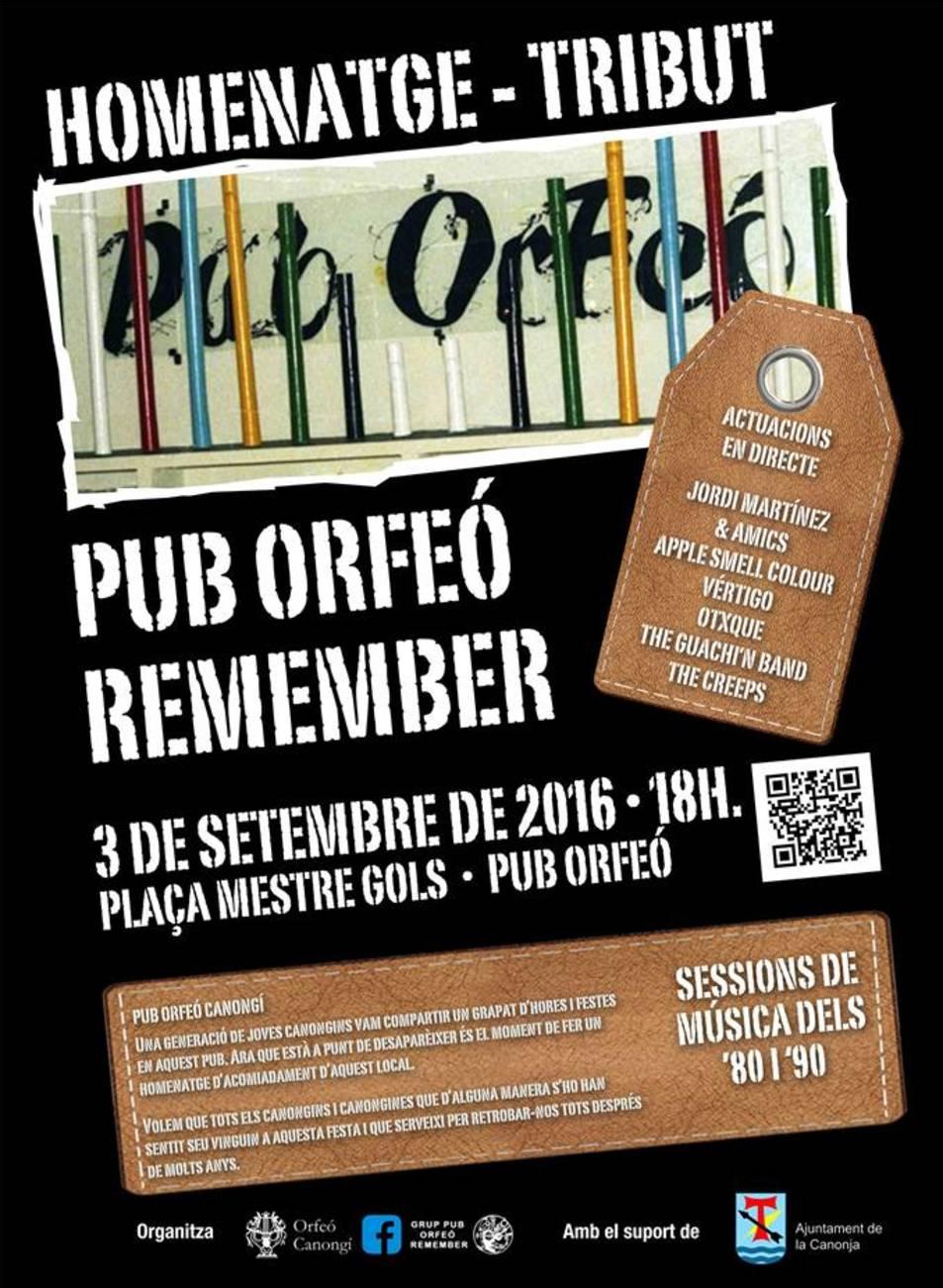 Cartell homenatge al Pub Orfeó