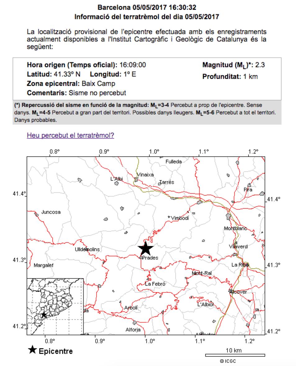 terratrèmol Prades