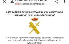 L'ANC denuncia que la Guàrdia Civil li ha tancat el web sense notificació prèvia