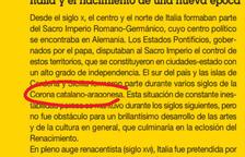 L'IEC diu que el govern d'Aragó «tergiversa la història» per retirar llibres amb el terme «Corona catalanoaragonesa»