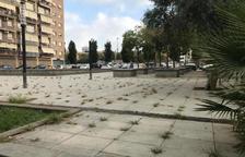 Les herbes creixen a la plaça principal de Torres Jordi