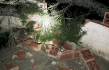 Un pi cau sobre la tanca d'una casa del Vendrell a causa del vent