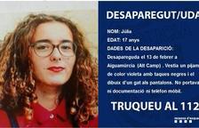 Buscan a una chica de 17 años desaparecida en Aiguamúrcia