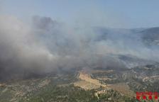 58 dotacions de Bombers treballen en un incendi entre Vinebre i la Torre de l'Espanyol