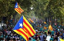 Manifestants d'arreu de Catalunya arriben al centre de Barcelona